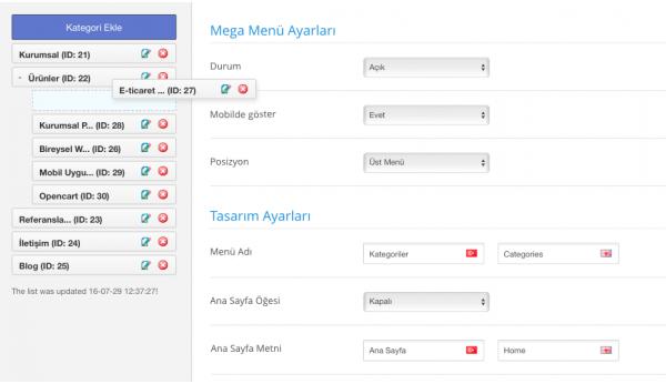 Opencart Mega Menü Modülü