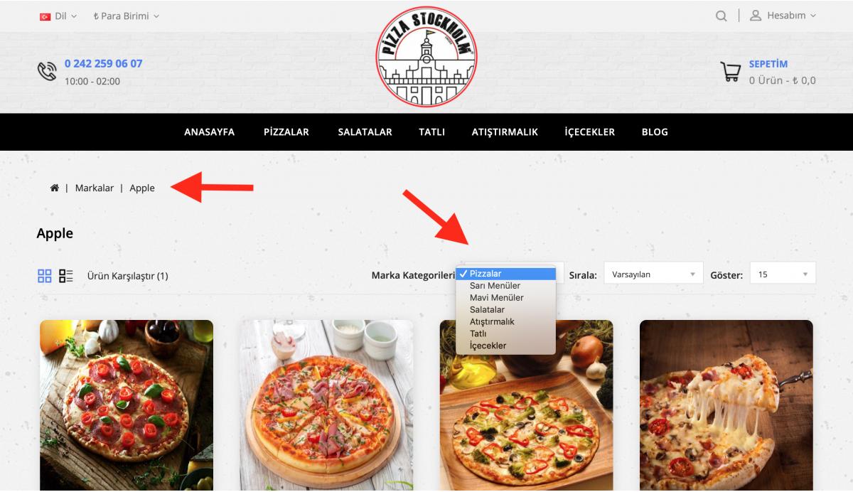 Opencart Marka Sayfalarında Kategoriye Göre Filtreleme