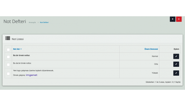 Opencart Admin Paneli için Not Defteri Modülü