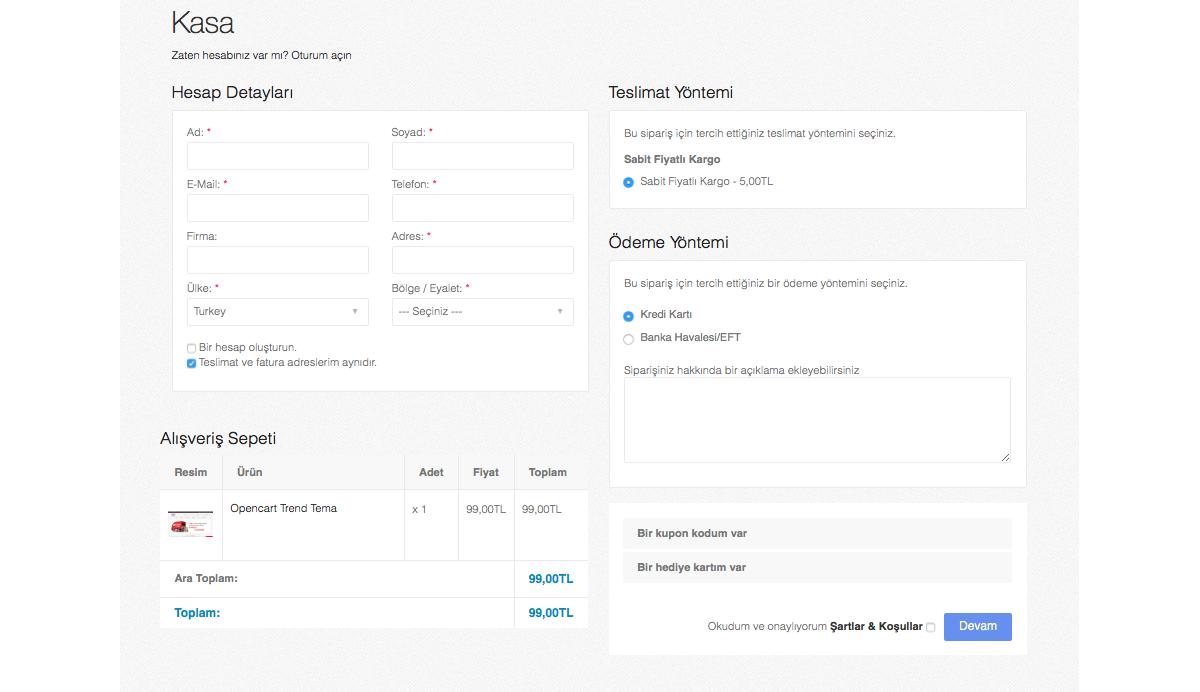 Opencart Tek Sayfada Ödeme Modülü